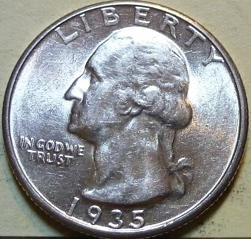 1935-P GEM BRILLIANT UNCIRCULATED Washington Quarter  BU # (S-05)