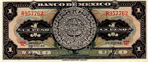 1957 - 70 MEXICO 1 PESO BANKNOTE