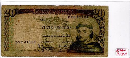 1964 PORTUGAL 20 ESCUDOS BANKNOTE