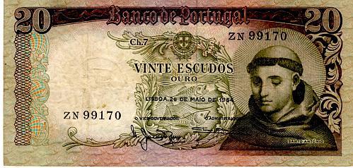 1964 PORTUGAL TWENTY ESCUDOS BANKNOTE