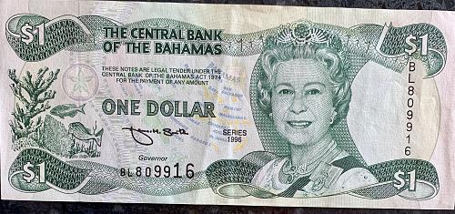 1996 Bahamas Central Bank ONE DOLLAR Note
