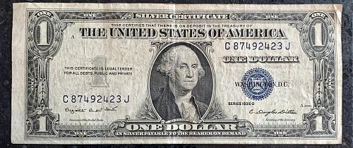 1935 G One Dollar Silver Certificate Miss-cut note