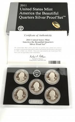 2011 S US Mint America The Beautiful Quarters Silver Proof Set W/box and COA