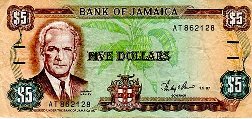JANUARY 9, 1987 JAMICA  FIVE DOLLAR BANKNOTE