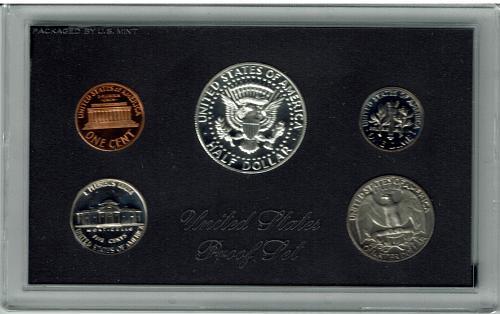 1968 proof set, 5 coin set, brilliant coins, undamaged no wear