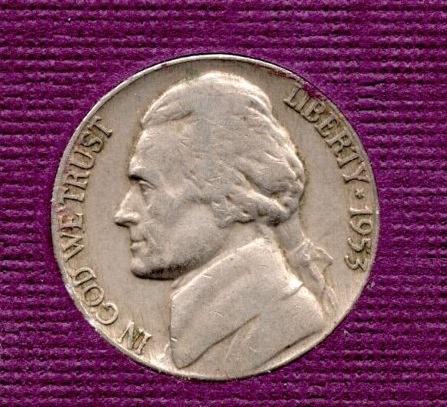 1953 d Jefferson Nickel -#3