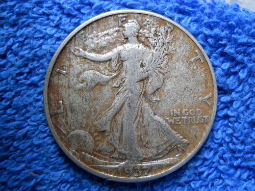 1937-P Walking Liberty Half Dollar.  Very Fine Grade.  Original Surfaces.  WL#23