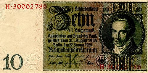 "JANUARY 22, 1929 (1945 ISSUE) GERMANY TEN REICHSMARK BANKNOTE ""WORLD WAR 11"""