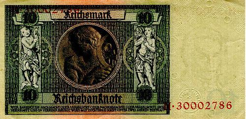 "JANUARY 22, 1929 (1945 ISSUE) GERMANY TEN REICHSMARK BANKNOTE ""WORLD WAR 11"""