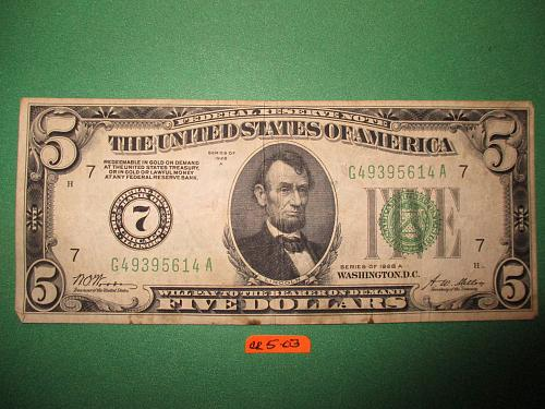 Series of 1928 A US $5 Green Seal Federal Reserve Note.  Item: CR 5-03.