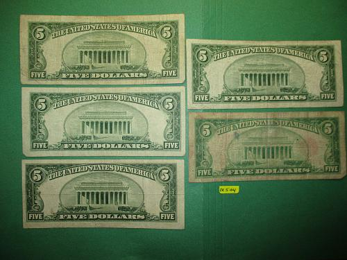 Five  1928 United States $5 Red Seal Notes.  Item: CR 5-04
