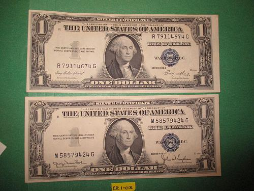 Two Series 1935 United States $1 Silver Certificates.  Item: CR 1-03.