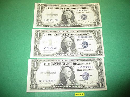 Three Sequential Series 1935 E US $1 Silver Certificates.  Item: CR 1-04.