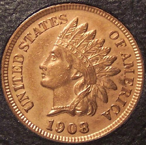 1908 Indian Head Cent GEM BU RED #0120