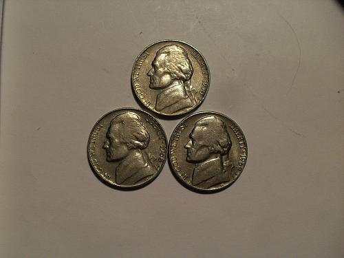 Lot of three S mint jefferson  nickels