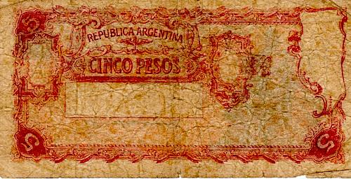 ND 1951 ARGENTINA  FIVE PESOS BANKNOTE