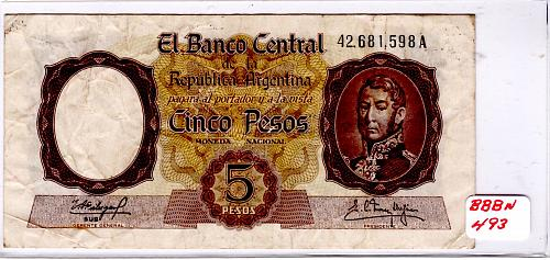 ND 1960  ARGENTINA  FIVE PESOS BANKNOTE