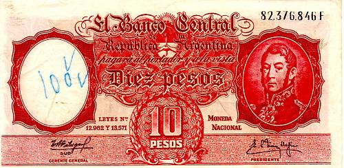 ND 1954 ARGENTINE TEN PESOS  BANKNOTE