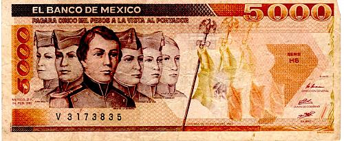 FEBRUARY 24, 1987  MEXICO FIVE THOUSAND PESOS BANKNOTE