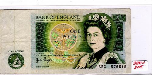 1971 - 82 GREAT BRITAIN 1 POUND BANKNOTE