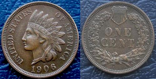 1906 INDIAN PENNY-EXTRA FINE - 4 FULL DIAMONDS - CHOICE