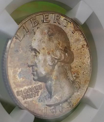 NGC MS 64 1964 Washington Silver 25c