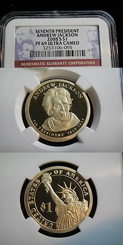 2008-S--NGC CERTIFIED COIN: PF69 CAMEO ANDREW JACKSON PRESIDENTIAL U.S. DOLLAR