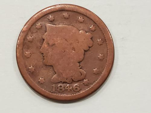 1846 Briaded Hair Liberty Head Large Cent Small Date
