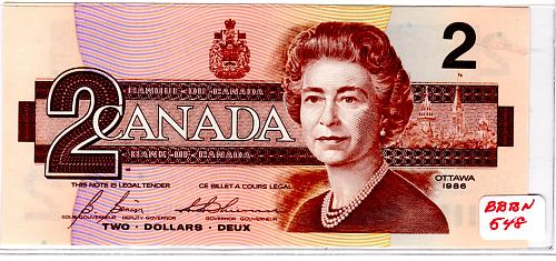 1986 CANADA TWO DOLLAR BANKNOTE