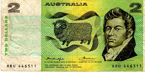 1976 AUSTRALIA TWO DOLLAR BANKNOTE