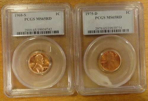 1968-S & 1975-D Lincoln Memorial Cent: MS65RD PCGS. (2 coins)