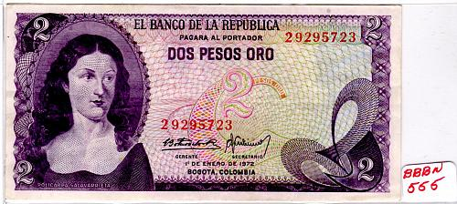 JANUARY 1, 1972 COLOMBIA TWO PESOS ORO BANKNOTE