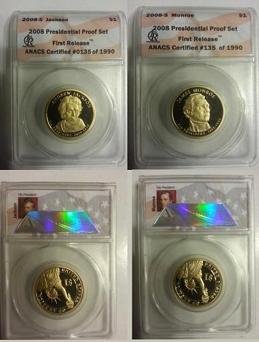 2008-S ANACS Proof First Release Monroe & Jackson President Dollar's