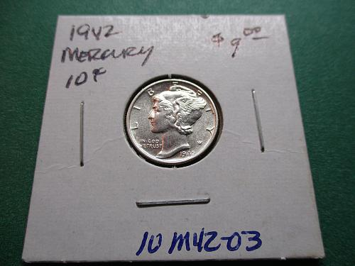 1942  MS62 Mercury Dime.  Item: 10 M42-03.