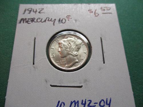 1942  AU58 Mercury Dime.  Item: 10 M42-04.