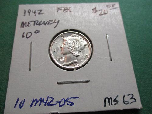1942  MS63 FBL Mercury Dime.  Item: 10 M42-05.