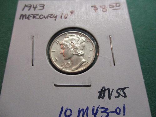 1943  AU55 Mercury Dime.  item: 10 M43-01.