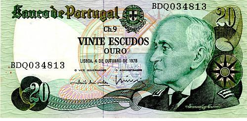 1978 PORTUGAL TWENTY ESCUDOS BANKNOTE