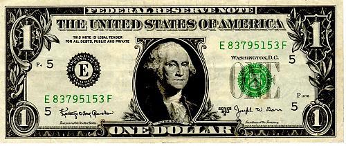 $1.00 SERIES 1963 US FEDERAL RESERVE BANKNOTE