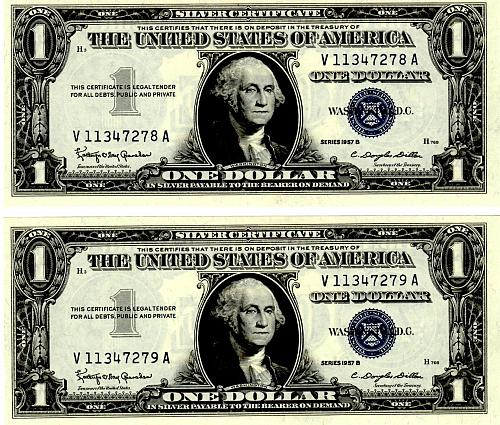 SERIES 1957B  TWO $1.00 SILVER CERTIFICATES IN SEQUENTIAL SERIAL NUMBERS