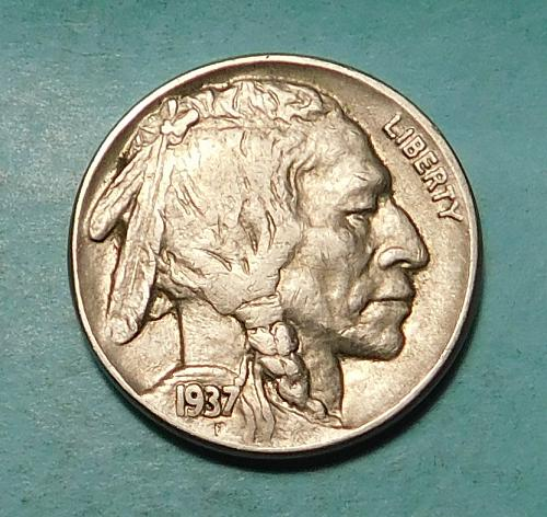 "1937 P Buffalo/Indian Head Nickel, ""DOUBLING on FIVE CENTS"""
