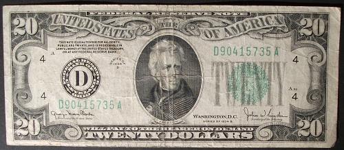 Series of 1934D $20 FRN FR# 2058-D Cleveland Fine