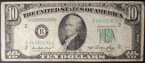 Series of 1950A $10 FRN FR# 2011-B New York Fine