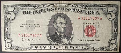1963 Series $5 U. S. Note FR #1536 F-VF