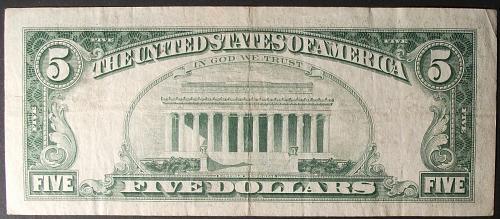1963 Series $5 U. S. Note FR #1536 F-VF #2