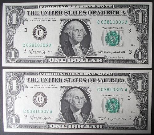 1963 Series $1 FRN FR# 1900-C AU++