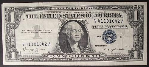 1957B Series Silver Certificate VF