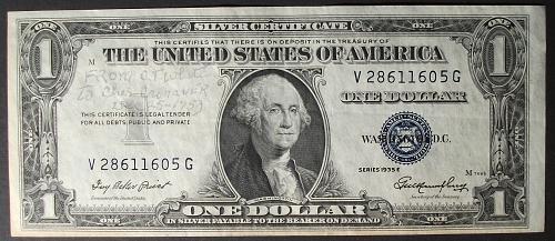 1935E Series Silver Certificate FR# 1614 VF w/inscription
