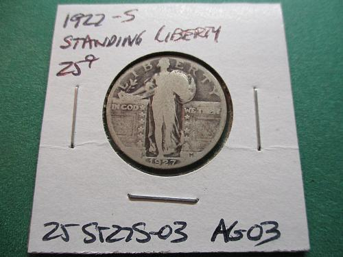 1927-S  AG3 Standing Liberty Quarter.  Item: 25 ST27S-03.