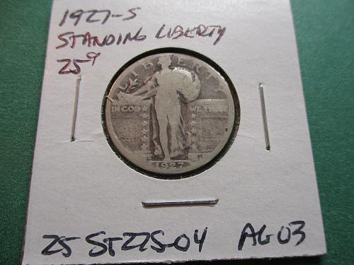 1927-S  AG3 Standing Liberty Quarter.  Item: 25 ST27S-04.